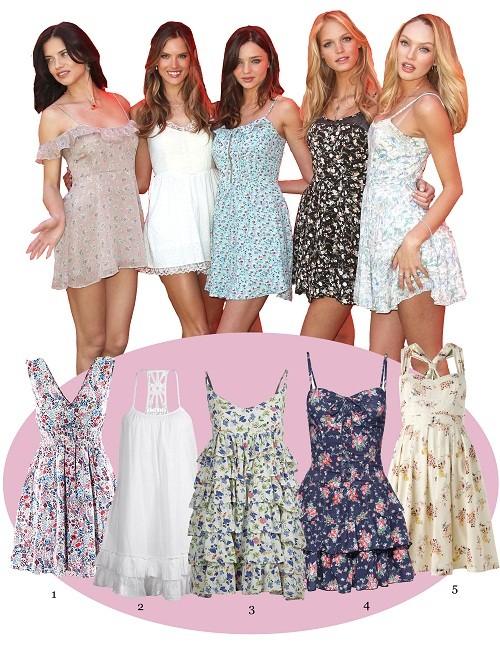 Die Models in süßen Mini-Kleidern